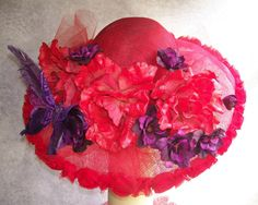 Wide Brim Red and Purple Hat with Roses by GlitzOfFlorida on Etsy