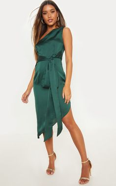 8c714a47b5d Emerald Green Satin One Shoulder Tie Waist Asymmetric Hem Midi Dress What  To Wear To A