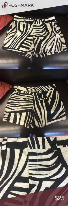 Ann Taylor Loft Shorts Ann Taylor LOFT zebra/abstract pattern shorts. Super cute with tights and booties or as summer shorts!! Very soft and not super short. Hidden zipper and faux pockets on the back. The pattern is more of a cream than white. LOFT Shorts