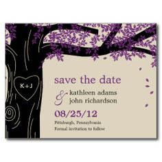 Oak Tree Purple Wedding Save The Date Postcard