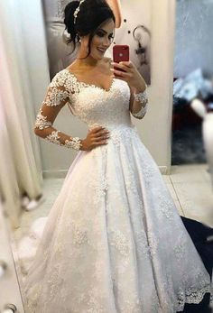 Popular Ball Gown Wedding Dress With Long Sleeves , Fashion Bridal Dre – Superbnoiva Lace Wedding Dress With Sleeves, Long Wedding Dresses, Bridal Dresses, Bridesmaid Dresses, Prom Dresses, Dresses With Sleeves, Gown Wedding, Wedding Fabric, Marie