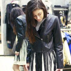 The new woman :) Striped Pants, New Woman, Leather Jacket, Urban, Jackets, Shopping, Women, Fashion, Studded Leather Jacket