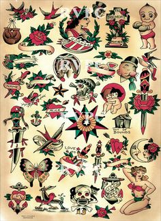 Eagle Tattoos, Skull Tattoos, Body Art Tattoos, Sleeve Tattoos, Tatoos, Sailor Jerry Tattoo Flash, Sailor Tattoos, Tatuagem Old Scholl, Tattoo Filler