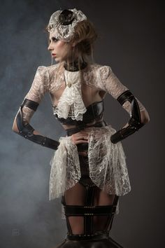Steampunk High Fashion Dress - unique high fashion steampunk, lace blouse, lace hat, fascinator, gloves/gauntlets/cuffs/bracers, hat, headpiece, jewelry, lingerie, necklace, womens clothing