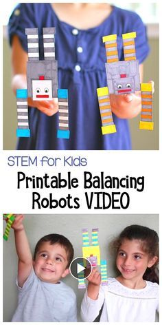STEM / STEAM Activity for Kids: Free Printable Balancing Robots! Learn about balance and center of gravity in this fun science project for children. ~