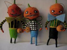 Spun Cotton Pumpkin head ornament by Maria Paula spuncotton