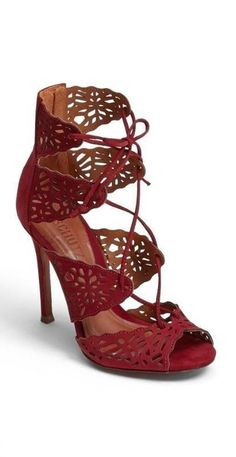 perforated red high heel sandal (shoes)  | LBV ♥✤ | KeepSmiling | BeStayElegant