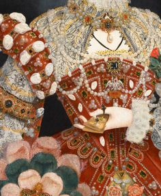 Portrait of Queen Elizabeth I - Nicholas Hilliard. Detail.