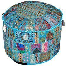 Amazon.com - Indian Living Room Pouf, Foot Stool, Round Ottoman Cover Pouf, Traditional Handmade Decorative Patchwork Ottoman Cover, Indian Home Decor Cotton Cushion Ottoman Cover 13x18''By Traditional Indian -