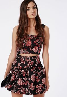 $24, Black Floral Skater Skirt: Missguided Metallic Floral Brocade Skater Skirt Black. Sold by Missguided. Click for more info: https://lookastic.com/women/shop_items/152406/redirect