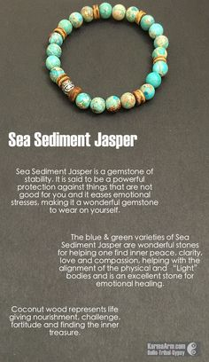 MANTRA: Today is filled with Light. - 8mm Natural Turquoise Sea Sediment Jasper Round Gemstones - Tibetan Silver GURU Bead - Coconut Heishi - Commercial Strength, Latex-Free Elastic Band - Artisan Cra