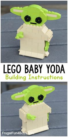 """Here's a fun new LEGO® building challenge that kids will love – build Baby Yoda! Who else thinks Baby Yoda is just totally adorable? Baby Yoda, or """"The Child"""" from the new The Mandalorian TV series is just TOO CUTE. So let's build one out of LEGO® bricks! Lego Girls, Lego For Kids, Lego Design, Lego Disney, Minecraft Lego, Lego Lego, Minecraft Buildings, Lego Ninjago, Instructions Lego"""