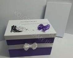 Pudełka na koperty, fiolet i biel