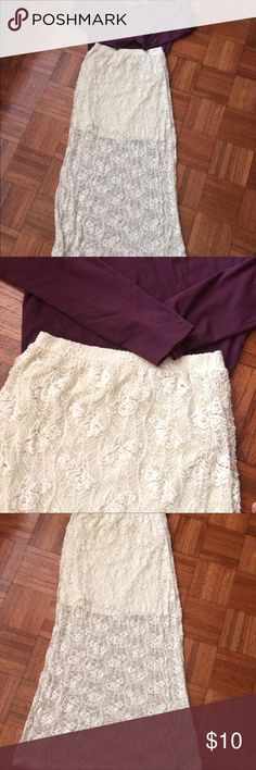 Cream Lace Maxi Skirt This is a flowy, cream colored lace skirt. Perfect for warmer weather. In good condition. No Boundaries Skirts Maxi
