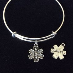 Silver Diabetic Medical Alert (Double Sided Charm) on an Adjustable Bangle Bracelet Diabetes Charm Bangle Trendy Gift