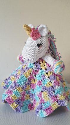 Diy Crafts - Crochet Toys Design Lavender Unicorn Snuggle Blanket Crochet pattern by StitchWitchCreations - Crochet Unicorn Pattern Free, Crochet Patterns Amigurumi, Crochet Blanket Patterns, Crochet Afghans, Crochet Unicorn Blanket, Crochet Security Blanket, Baby Security Blanket, Crochet Crafts, Crochet Toys