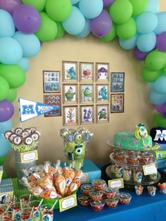 Monsters University Candy Bar And Party Decoration ❤ Party for Monsters Inc Party Decorations - Party Decor Monster Inc Party, Monster University Birthday, Monster 1st Birthdays, Monster Birthday Parties, 3rd Birthday Parties, First Birthdays, Birthday Ideas, Monsters Inc Baby Shower, Party Monsters