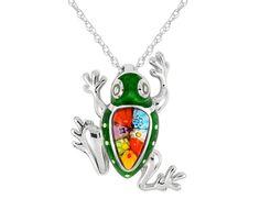Millefiori Murano Glass Frog Pendant in Sterling Silver with Chain