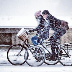 Weathering the snow storm on #bicycles.