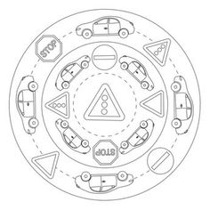 A mandala for teaching children in preschool and kindergarten to read and recognize traffic signs on the street. School Chalkboard, Chalkboard Signs, Safety Crafts, Coloring Books, Coloring Pages, We Are Teachers, Schools First, School Signs, Chalk Markers
