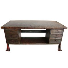 View this item and discover similar for sale at - Great early foremans desk with heavy distressed top and green over paint on red base, with 6 drawers and bottom shelf Industrial Desk, Study Office, Workspaces, Writing Desk, Camellia, Drawers, Old Things, Tables, Shelves