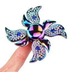 Diamant Engelsflügel Finger Spinner Rainbow, Stress Reducer Hand Spinner Fidget Metall edc Spielzeug: Amazon.de: Sport & Freizeit