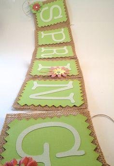 Handmade Custom Burlap Banner  Spring by LetsWearDresses on Etsy, $18.00