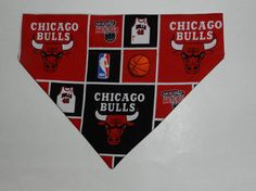 NBA Basketball CHICAGO BULLS Dog/Cat/Ferret-Reversible 2 in 1 Over the Collar Bandana//Custom made just for you and your pet