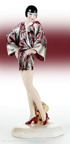 "A rare ceramic Art Deco figure by Dakon for Goldscheider Vienna,  1929/1930 , ""Kimono"" model No. 6071 and most likely modelled on Louise Brooks."