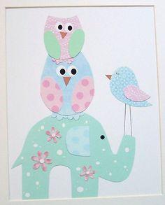 Cotton Candy Owls, Bird and Elephant-Kids Wall Art Baby Girl Room Decor Art for Children by vtdesigns, $14.00