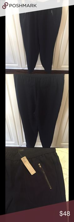 J.Crew Turner Crepe Tapered Pants-Never Worn! Cut in a classic loungewear shape. Sits low on the hips; the elastic waistband ensures a flexible fit. Dark Navy crepe. Pull on. J. Crew Pants Straight Leg