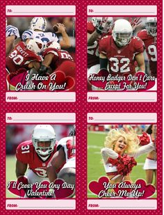 Download and print a set of 12 free Arizona Cardinals Valentine's Day Cards.  Cards include Larry Fitzgerald, Patrick Peterson, Tyrann Mathieu, Big Red and more.  The set is all new for 2014 and can be found at www.azcardinals.com/valentines  #AZCardinals #Valentines #Cards