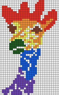 Rainbow Giraffe Perler Bead Pattern