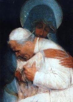 Giovanni Paolo II and Mary Catholic Prayers, Catholic Art, Catholic Saints, Religious Art, Divine Mother, Mother Mary, Our Lady Of Czestochowa, Papa Juan Pablo Ii, Akiane Kramarik