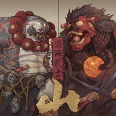 Game Character Design, Character Design Inspiration, Character Art, Japanese Art Modern, Samurai Artwork, Demon Art, Futuristic Art, Japan Art, Creature Design