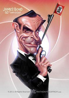 anthony geoffroy caricatures   James Bond Sean Connery caricature by Anthony Geoffroy
