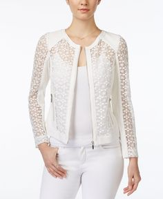 Xoxo Juniors' Crochet Zip-Front Moto Jacket
