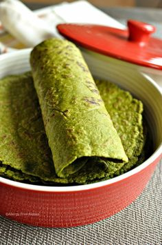 Gluten-Free-and-Vegan-Spinach-Tortillas-from-Allergy-Free-Alaska. Super for St Patricks Day meal