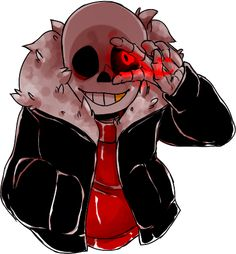 (IM Violet) Violet: *walks around and sees someone they disappear and i turn around but then se them right infront of me* UF Sans: *chuckles* Hey there... You look a little purple... well.... guess what my two favorite colors are.... hm? did you say.... PALE WHITE and BLOOD RED... well- *puts his hand over his eye and then opens two fingers showing a red glowing eye* i think you won the prize now you get to see those colors over and over again until i get tired~ *chuckles darkly*