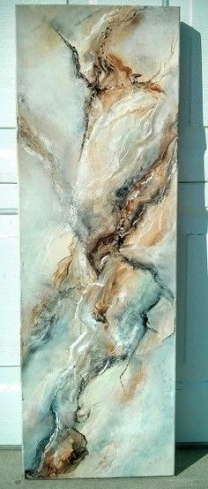 Original abstract 12 in by 36 in oil painting hand painted, signed and dated by artist on the back The painting doesnt need a frame as the sides are painted and it can hang on a picture hook or nail.