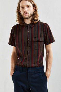 Brixton Roland Stripe Short-Sleeve Button-Down Shirt - Urban Outfitters