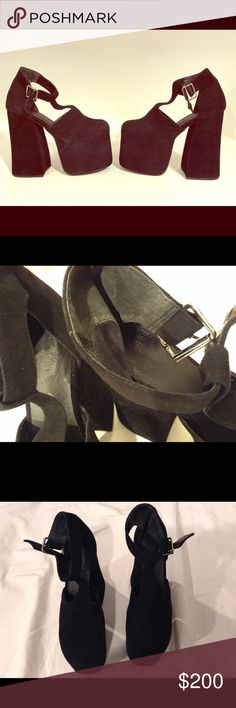 """UNIF Dame Platform Shoes Rare UNIF Dame platform heels. Size 7. Approx. 6"""" heel, approx. 3"""" platform. Worn twice. 100% Suede. Balance man made. Shoes have few signs of wear throughout. UNIF Shoes Platforms"""