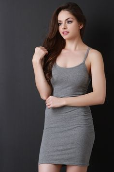 This bodycon dress features a round neckline, sleeveless spaghetti shoulder straps, and mini length hem.Measurement Size Bust Waist Hip Length S 26 22 28 30 M 28 24 30 31 L 30 26 32 32 Beautiful Girl Image, Beautiful Models, Gorgeous Women, Beauty Full Girl, Beauty Women, Sexy Dresses, Girls Dresses, Formal Dresses, Girl Fashion