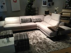 White leather sectional with adjustable back by HTL Furniture. // .KeyHomeFurnishings. : htl furniture sectional - Sectionals, Sofas & Couches