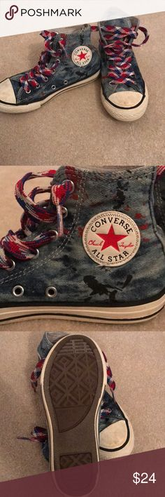 Boys Size 2 Custom Chuck Taylor Converse All Stars Jeans material high tops with red and blue paint splatter design. Converse Shoes Sneakers
