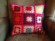 A personal favourite from my Etsy shop https://www.etsy.com/uk/listing/472577602/granny-square-crochet-cushion-includes