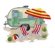 applique camper designs | Beach Camper Embroidery Design