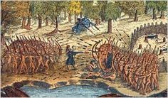 A battle between Iroquois and Algonquian (Menominee are one) tribes near Lake Champlain