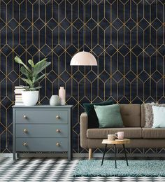 Removable Wallpaper | Peel and Stick Geometric Wallpaper | Self Adhesive Art Deco Wallpaper | Vintag