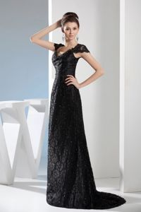 Black V-neck Mother of Bride Dresses with Brush Train and Lace in Chilliwack